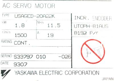 Yaskawa USAGED-20A22K label image