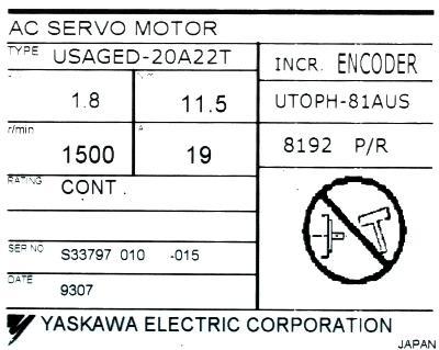 Yaskawa USAGED-20A22T label image