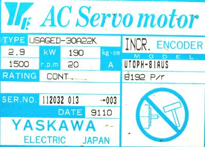 Yaskawa USAGED-30A22K label image