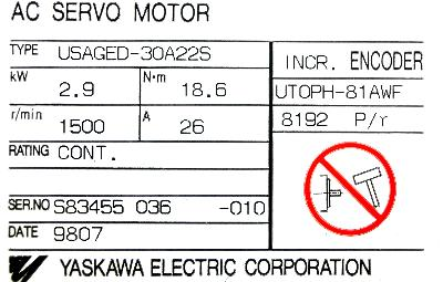 Yaskawa USAGED-30A22S label image