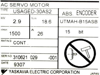 Yaskawa USAGED-30AS2 label image