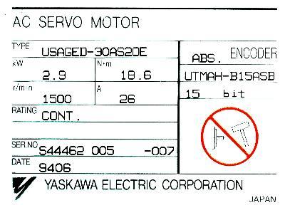 Yaskawa USAGED-30AS2OE label image