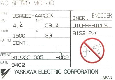 Yaskawa USAGED-44A22K label image