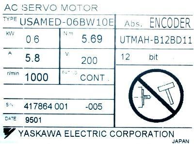 Yaskawa USAMED-06BW1OE label image