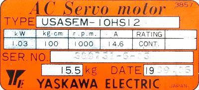 Yaskawa USASEM-10HS12 label image