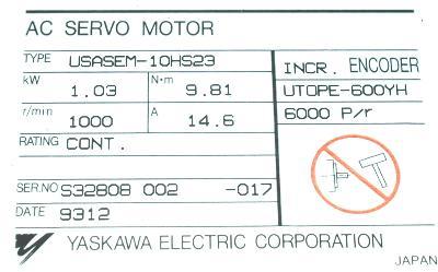Yaskawa USASEM-10HS23 label image