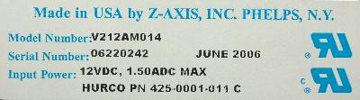 Z-AXIS V212AM014 label image