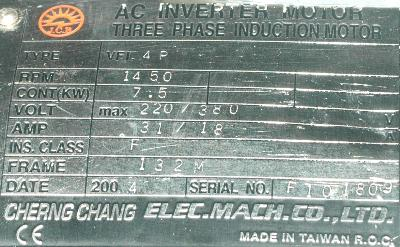 CHERNG CHANG MACHINERY ELECTRIC CO., LTD VFI.4P label image