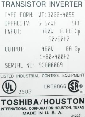 Toshiba VT130G2-4055 label image