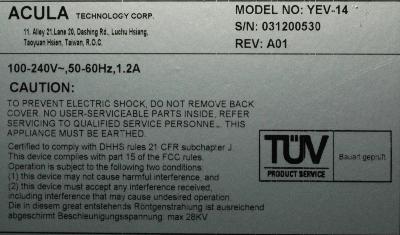 Acula Technology Corp YEV-14-PZRT label image