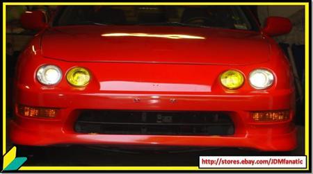 Acura Integra   Sale on 98 01 Acura Integra Gsr Hibeam Headlight Precut Jdm Yellow Overlays