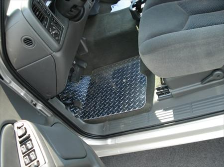 silverado 99 06 diamond plate aluminum floor mats custom fit front rear foot pc real metal. Black Bedroom Furniture Sets. Home Design Ideas
