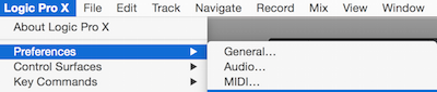 Audio setup under logic pro preferences