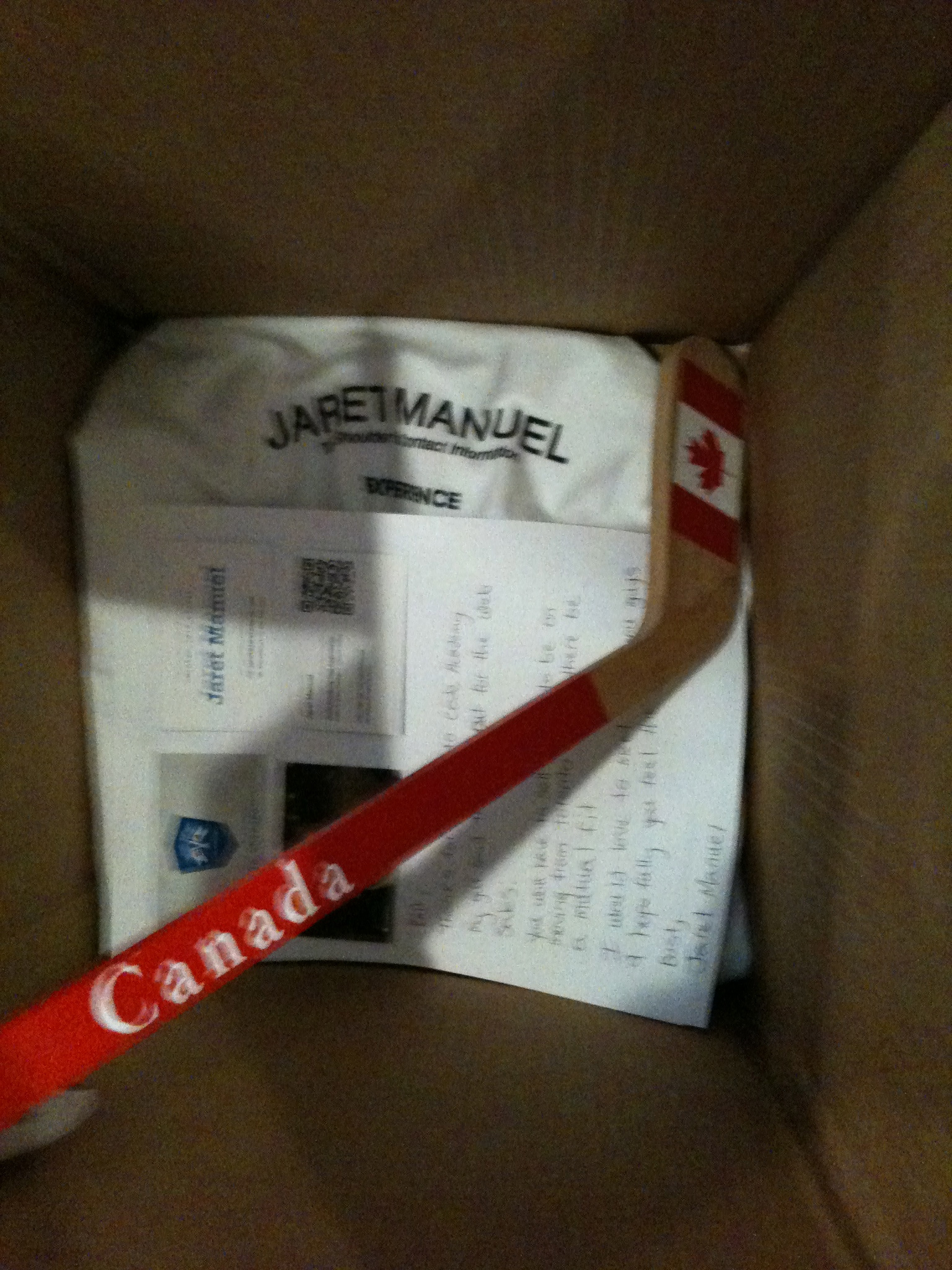An oversized box with a Team Canada Hockey Stick and T-Shirt I sent as a Resume to BrainTree Payments