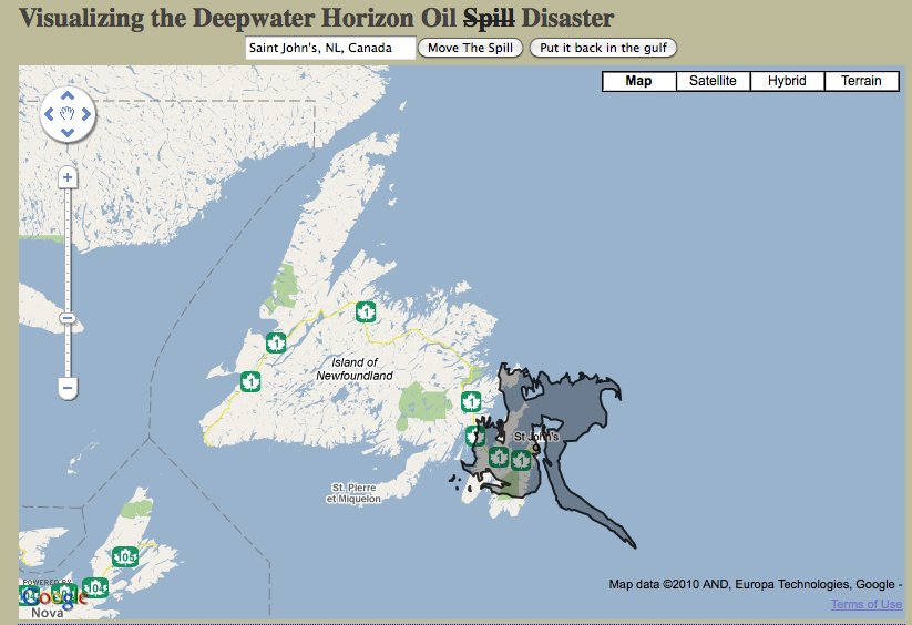 Picture of BP oil spill mapped over Newfoundland