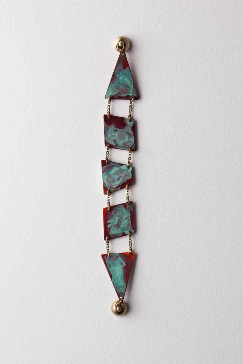 Verdigris/Red Patina Geometric Bracelet