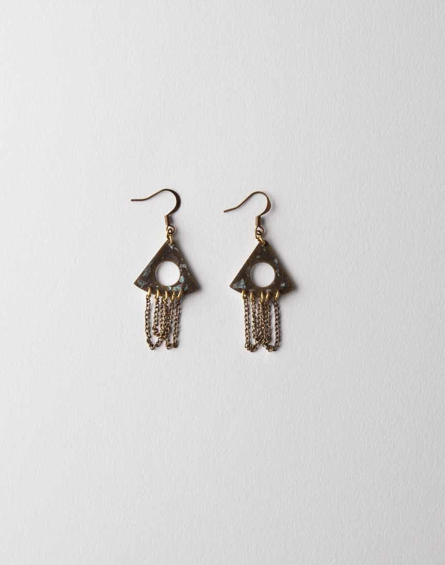 Cut-out Patina Earrings w/ Chains