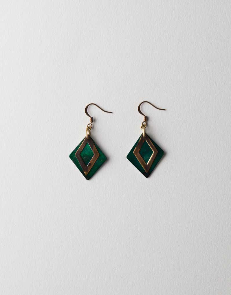Green and Brown Patina Earrings