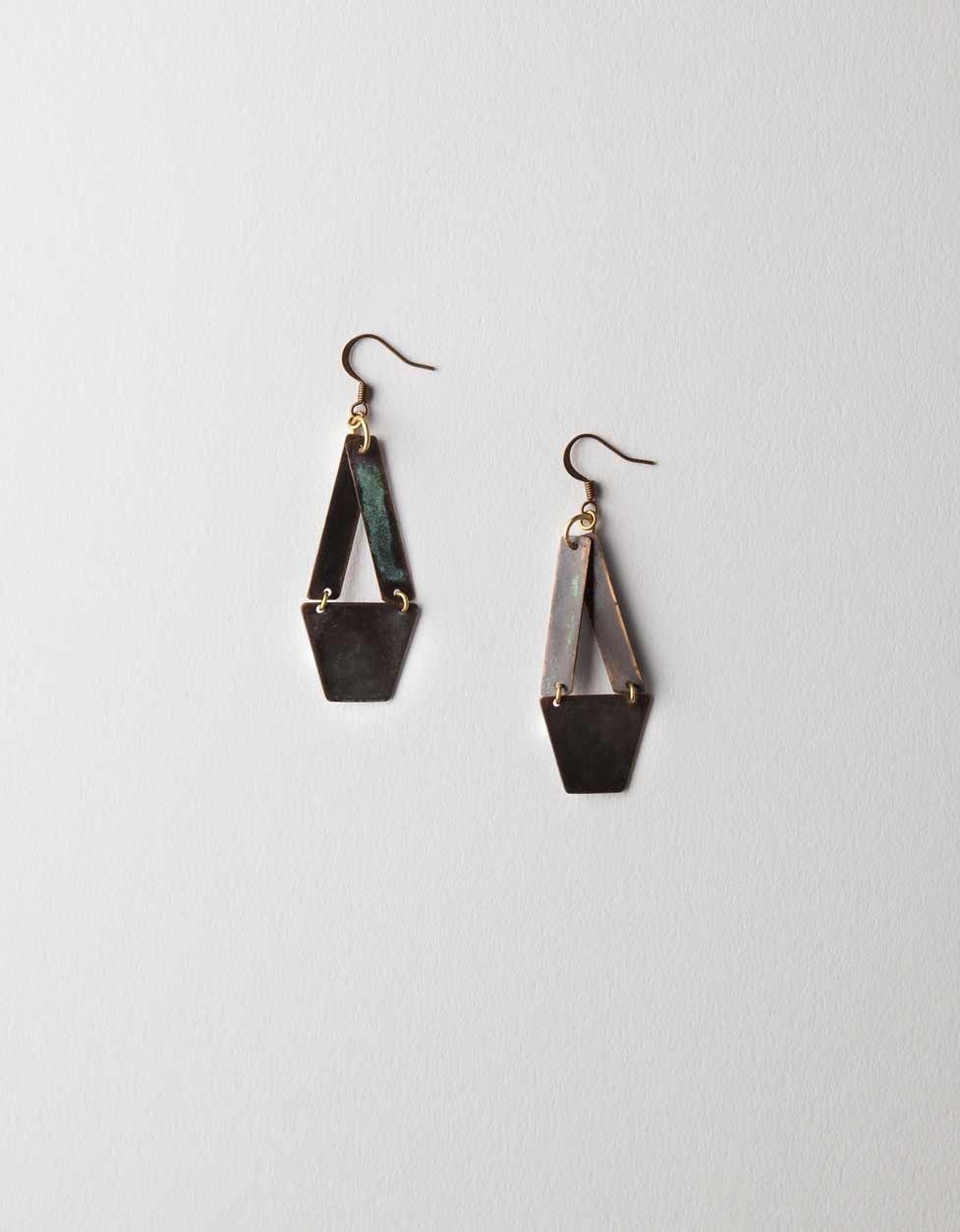 Geometric Linked Patina Earrings