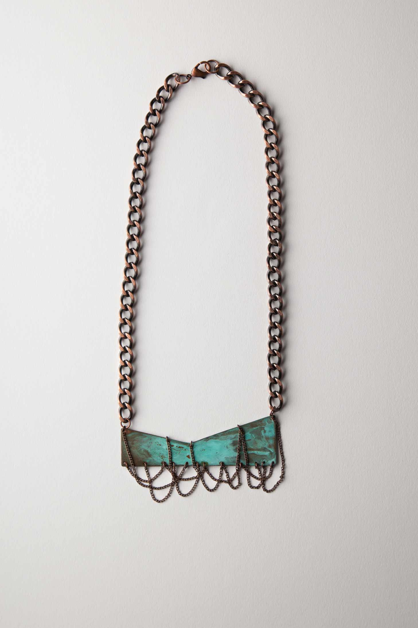 Verdigris Patina Pendant Necklace w/ Copper Chains