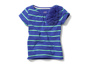 Kids Toddler Girl Applique Stripe Tee