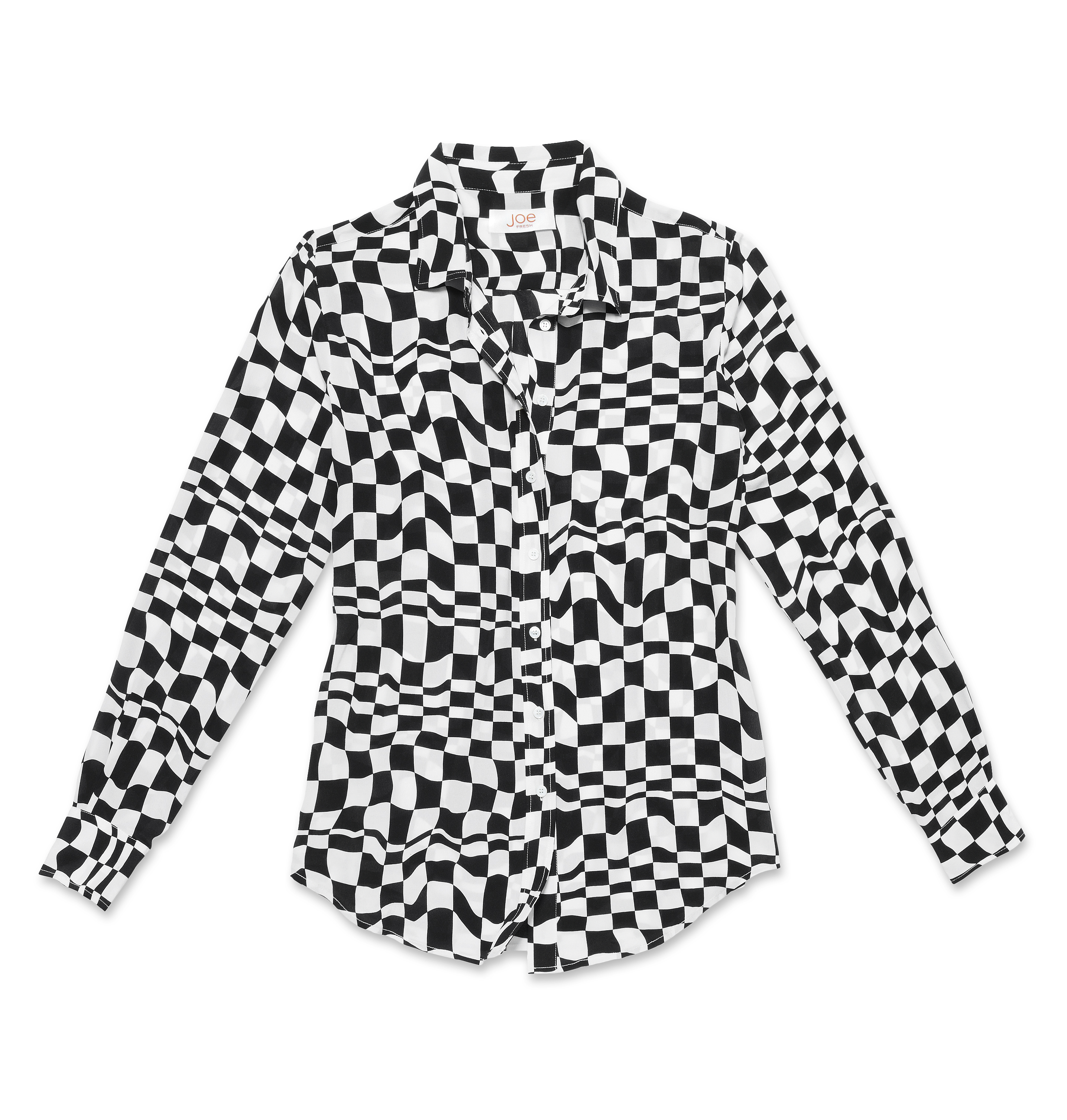 Women Tops Optic Print Silk Shirt High-res