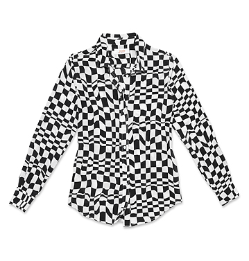 Women Tops Optic Print Silk Shirt Low-res