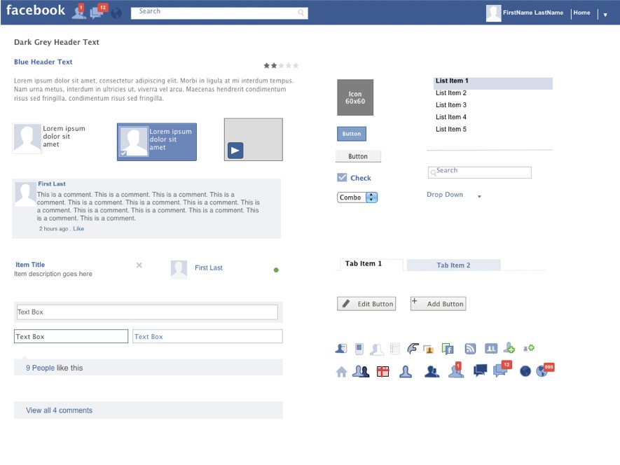 axure facebook widgets library | powerpoint storyboard, Modern powerpoint