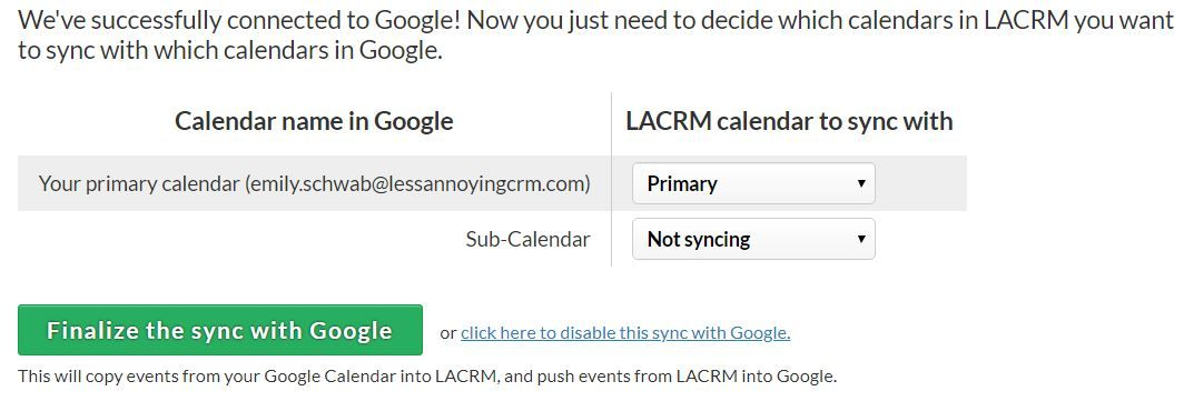 Can I sync my Outlook, iCal, or Google Calendar with LACRM?