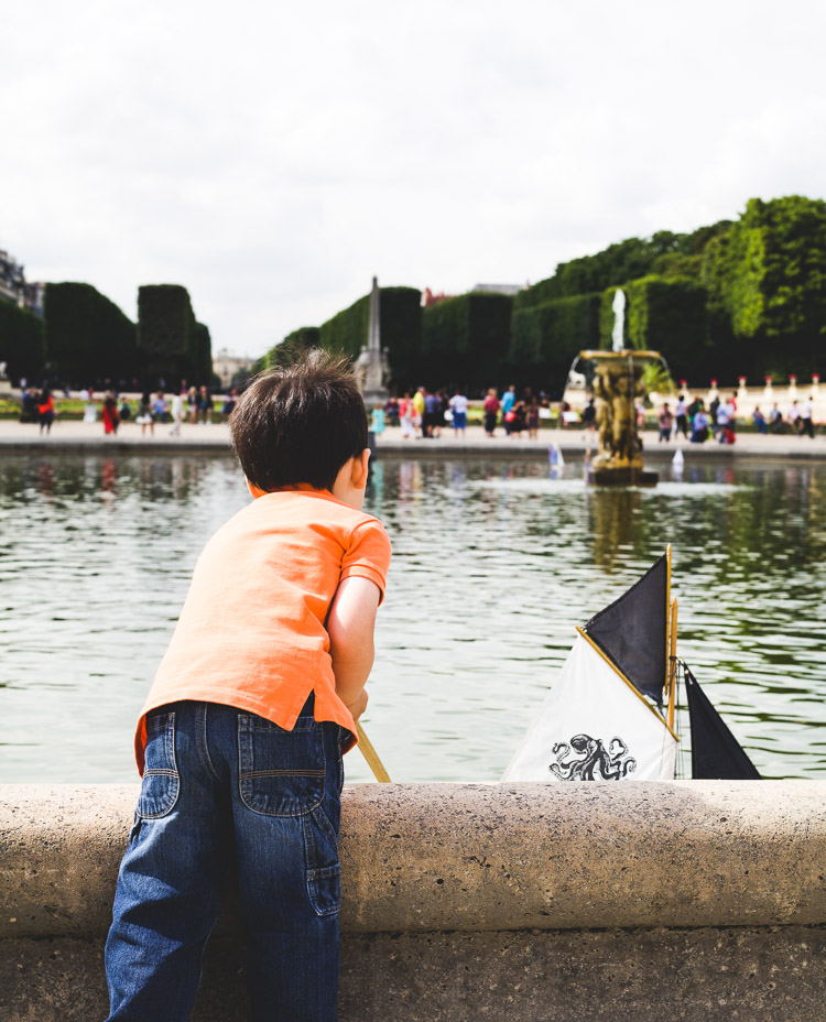 Wooden sailboats at Luxembourg Gardens
