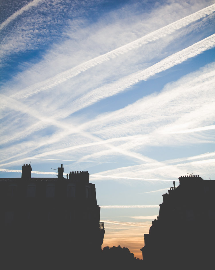 Paris morning sky Haussmann building