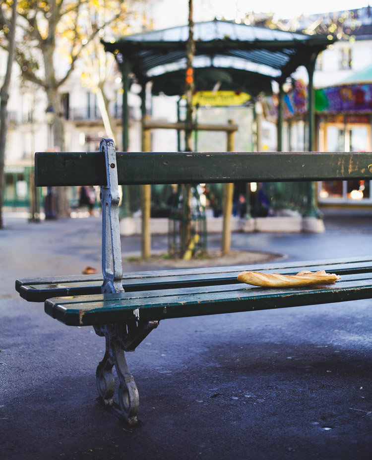 Paris architecture bench with baguette