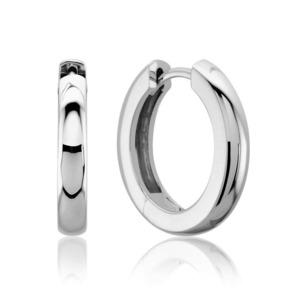 Lux 14k White Gold 3MM Hinged Hoop Earrings