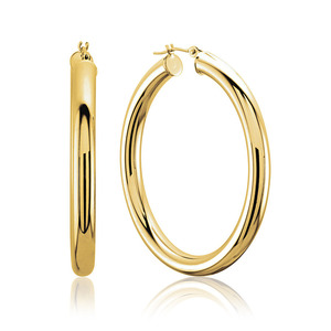 Lux 14k Yellow Gold 2MM Tube Hoop Earrings