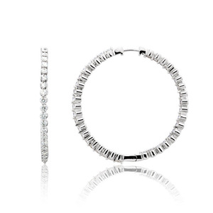 Lux 14k White Gold Hinged Floating Prong Set Diamond Hoop Earrings