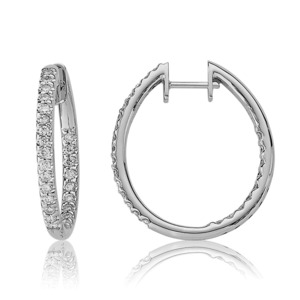 Lux 14k White Gold Hinged Prong Set Diamond Hoop Earrings