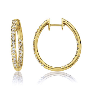 Lux 14k Yellow Gold Hinged Prong Set Diamond Hoop Earrings