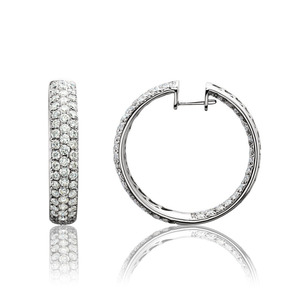 Lux 18k White Gold Hinged Pave Set Diamond Hoop Earrings