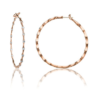 Lux 14k Rose Gold Omega Wave Bezel Set Diamond Hoop Earrings