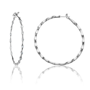 Lux 14k White Gold Omega Wave Bezel Set Diamond Hoop Earrings
