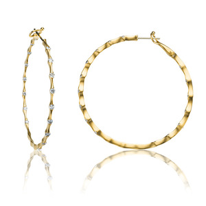 Lux 14k Yellow Gold Omega Wave Bezel Set Diamond Hoop Earrings