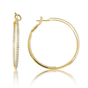 Lux 14k Yellow Gold Omega Prong Set Diamond Hoop Earrings