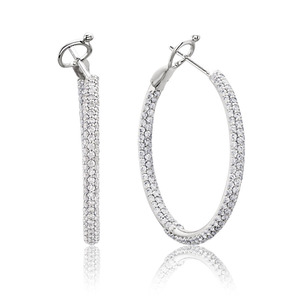 Lux 14k White Gold Omega Pave Set Diamond Hoop Earrings