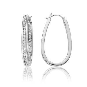 Lux 14k White Gold Oval Channel Set Diamond Hoop Earrings