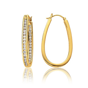 Lux 14k Yellow Gold Oval Channel Set Diamond Hoop Earrings