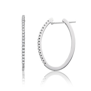 Lux 14k White Gold Oval Prong Set Diamond Hoop Earrings