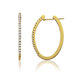 Lux 14k Yellow Gold Oval Prong Set Diamond Hoop Earrings