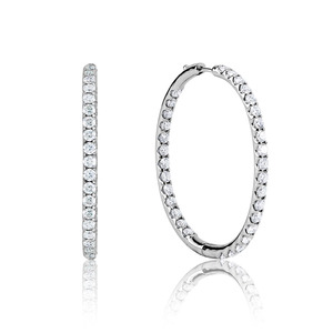 Lux 14k White Gold Spring Hinge Prong Set Diamond Hoop Earrings