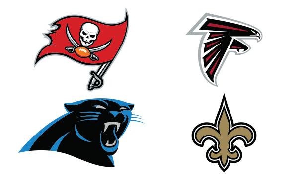 NFC South Team Logos