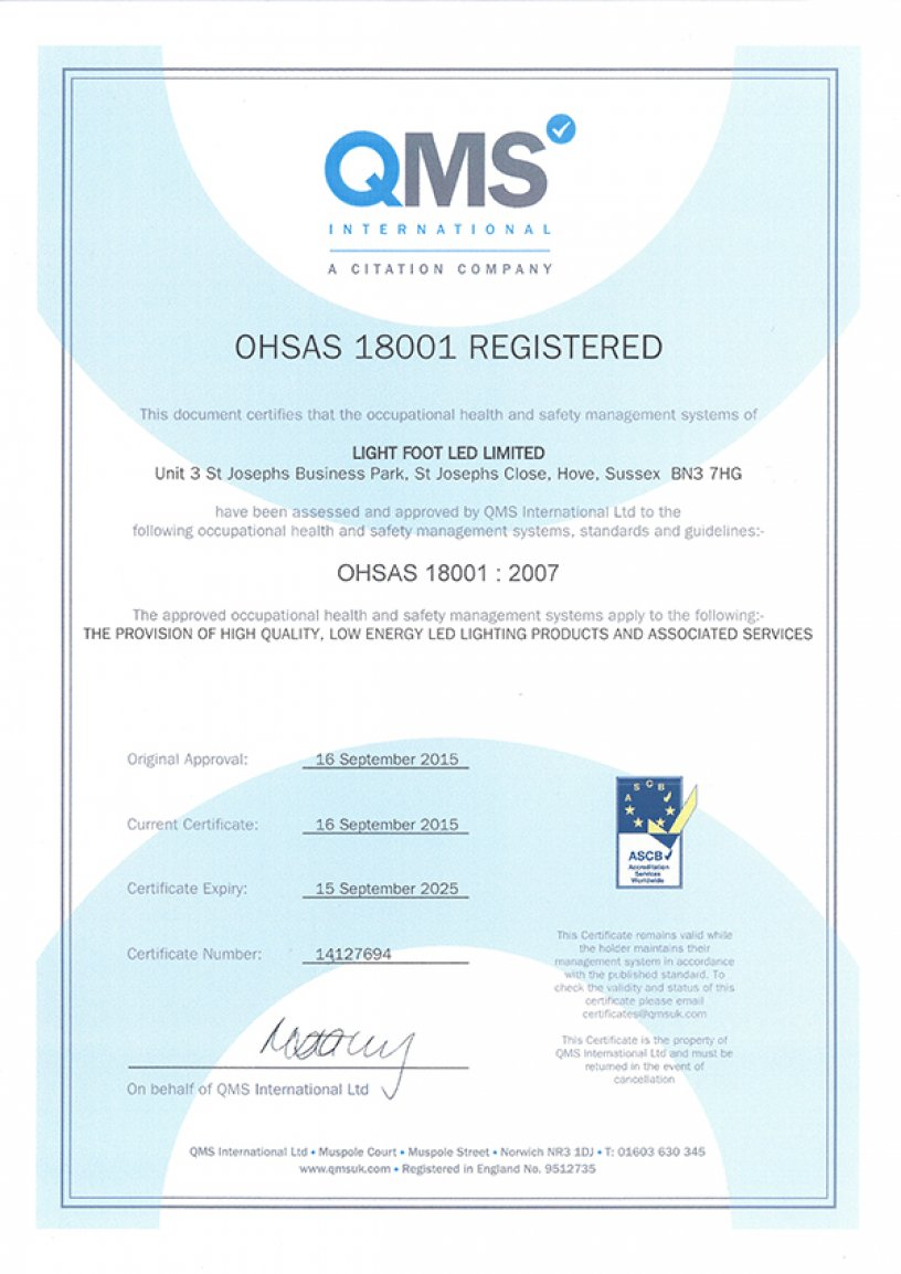 We are now OHSAS 18001 Approved